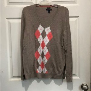 Tan and coral vneck sweater